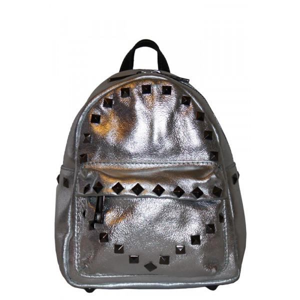 Рюкзак R0029.1 серебро 21х18х9 (Натуральная кожа)