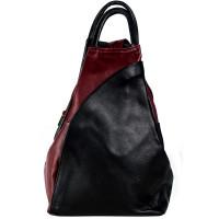 Рюкзак R0036.6 черно-бордовый 23х33х13 (Натуральная кожа)