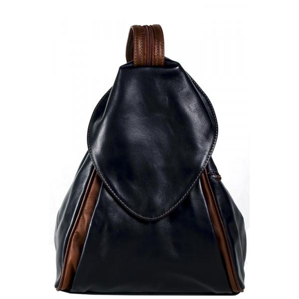 Рюкзак R0037.2 черно-коричневый 23х33х13 (Натуральная кожа)