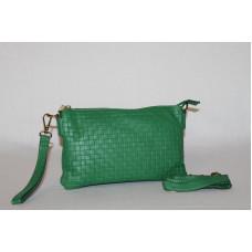 Клатч K0010.1 зеленый 25х15  (Натуральная кожа)