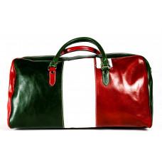 Сумка D0011.1 зеленый-белый-красный 54х33х23 (Натуральная кожа)
